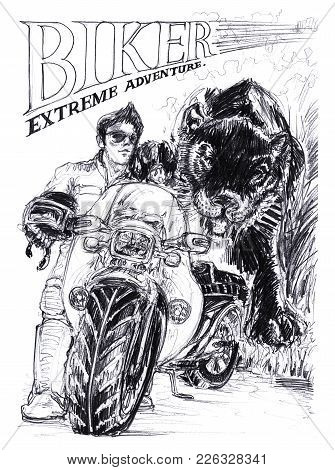 Biker Action Smart With Big Bike And Panther Or Black Tigeris Background, Acting Pencil Has Biker St