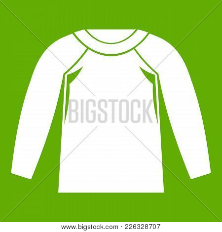 Sports Jacket, Icon White Isolated On Green Background. Vector Illustration