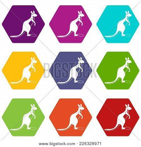 Kangaroo Icon Set Many Color Hexahedron Isolated On White Vector Illustration