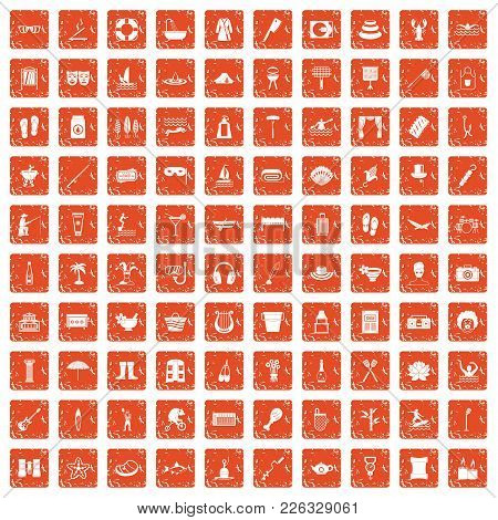 100 Recreation Icons Set In Grunge Style Orange Color Isolated On White Background Vector Illustrati