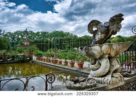 Florence, Italy - May 19, 2017: Stunning Gargoyle At The Boboli Gardens In Florence, Italy, With The