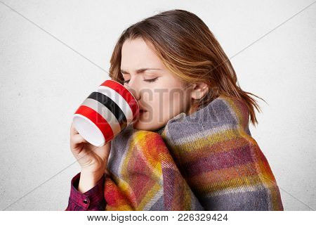 Sick Young Adorable Woman Drinks Hot Tea With Honey, Wrapped In Coverlet, Feels Cold In Winter As Ha