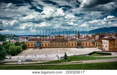 Florence, Italy - May 19, 2017: Beautiful View Of The Palazzina Della Meridiana (meridian Palace, Wh