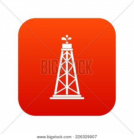 Oil Rig Icon Digital Red For Any Design Isolated On White Vector Illustration