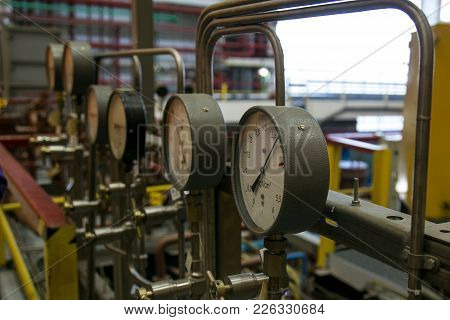 Closeup Of Manometer. System Of  Manometers For Measuring Gas Pressure In Gas Distribution System In