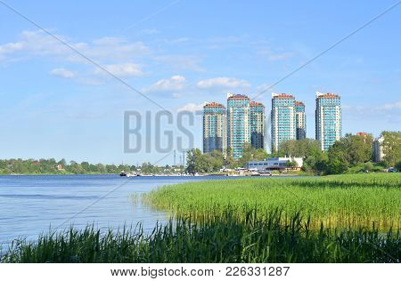 View Of Neva River And Microdistrict Ribatskoe On The Outskirts Of St. Petersburg, Russia.