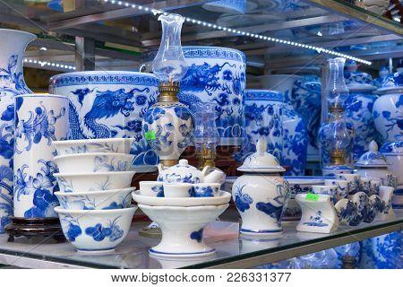 Hanoi, Vietnam - Jan 25, 2015: Pottery Products On A Shop In Bat Trang Ancient Ceramic Village. Bat