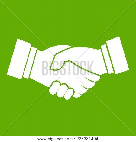 Handshake Icon White Isolated On Green Background. Vector Illustration