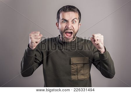 Frustrated Man Yelling Like Crazy