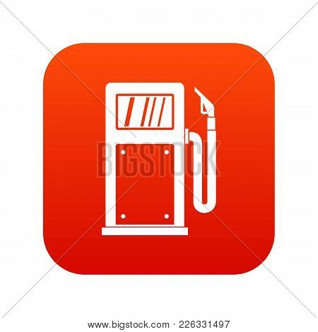 Gasoline Pump Icon Digital Red For Any Design Isolated On White Vector Illustration