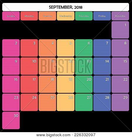 September 2018 Planner Calendar Big Editable Space Color Day