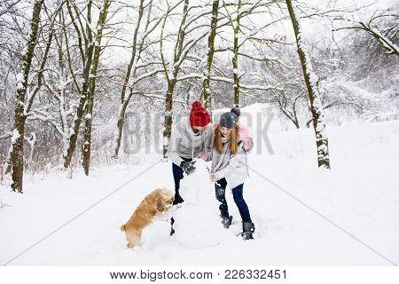 Girl, Boy And Cocker Spaniel Having Fun With Snow Outdoors