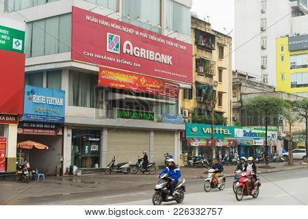 Hanoi, Vietnam - Mar 15, 2015: Exterior View Of Agribank Office In Xa Dan Street. Agribank Is The La