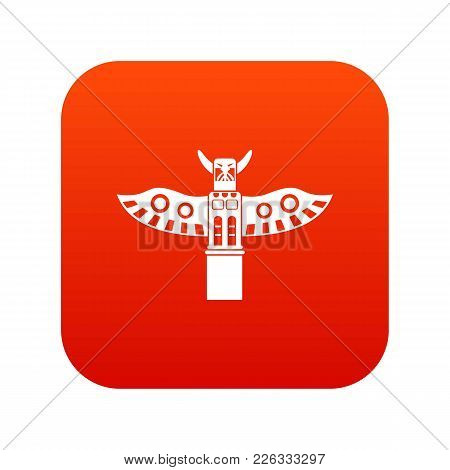 Traditional Religious Totem Pole Icon Digital Red For Any Design Isolated On White Vector Illustrati
