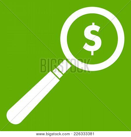 Magnifier Icon White Isolated On Green Background. Vector Illustration