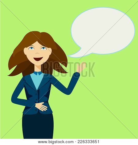 Business Woman With Announcement And Speech Bubble, Commercial, Promotion, Event, Ad, Marketing Anno