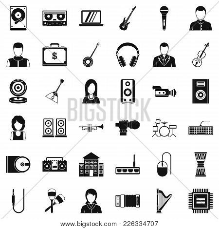 Music Business Icons Set. Simple Set Of 36 Music Business Vector Icons For Web Isolated On White Bac