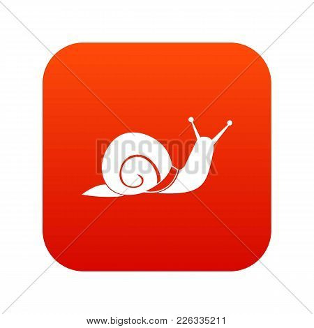 Snail Icon Digital Red For Any Design Isolated On White Vector Illustration