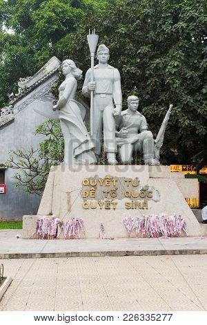 Hanoi, Vietnam - Mar 15, 2015: Victory Monument On Dinh Tien Hoang Street, Hoan Kiem District. Some