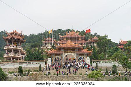 Quang Ninh, Vietnam - Mar 22, 2015: Wide Exterior Front View Of Giac Tam Zen Monastery, Cai Bau Pago