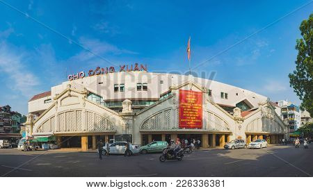 Hanoi, Vietnam - Aug 23, 2015: Exterior Front View Of Dong Xuan Market, The Largest Covered Market O