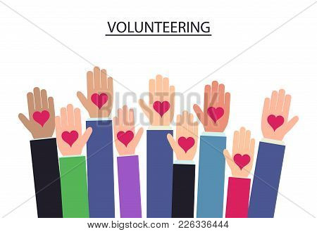 Raised Up Hands Volunteering On Blue Background, Charity Hand With Heart. Vector