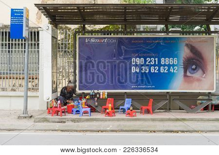 Hanoi, Vietnam - Mar 29, 2015: A Bus Station With A Drink Stall Using The Space Inside The Station I