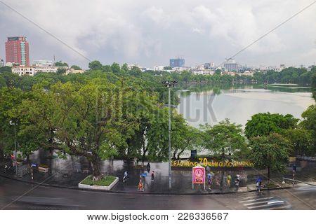 Hanoi, Vietnam - Aug 28, 2015: Hoan Kiem Lake, The Center Of Hanoi