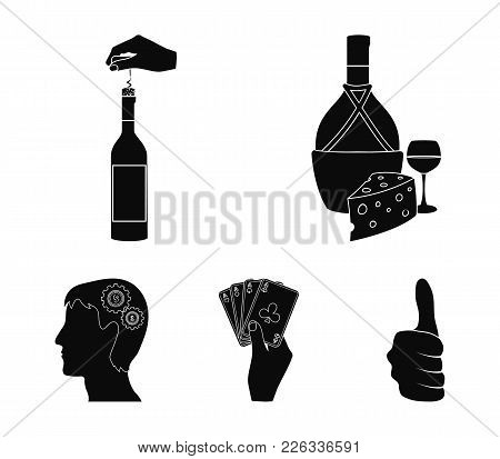 Bottle, A Glass Of Wine And Cheese, Clogging With A Corkscrew And Other Web Icon In Black Style. A C