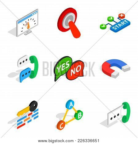 Respond Icons Set. Isometric Set Of 9 Respond Vector Icons For Web Isolated On White Background
