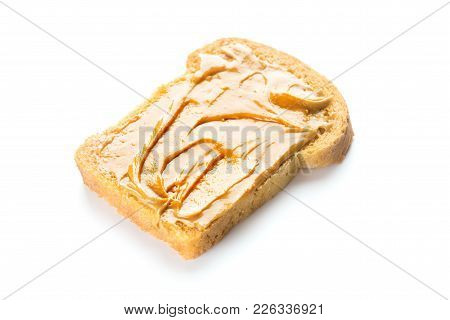 Peanut Butter Sandwich Isolated On White Background