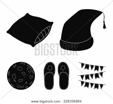 Night Cap, Pillow, Slippers, Moon. Rest And Sleep Set Collection Icons In Black Style Vector Symbol