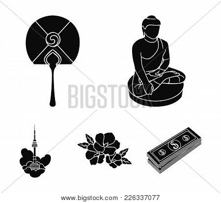 Buddha Statue, National Fan, Hibiscus Flower, Seoul Tower. South Korea Set Collection Icons In Black