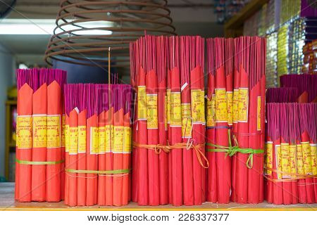 Hanoi, Vietnam - Apr 5, 2015: Asian Incense For Sale In A Store In Nguyen Huu Huan Street, Hanoi
