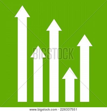 Upside Growing Arrows Icon White Isolated On Green Background. Vector Illustration