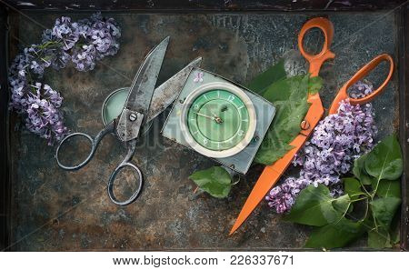 Two Pairs Of Old Huge Scissors Black Antique And Orange, Between Them A Square Clock With A Green Di