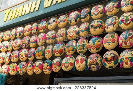 Hanoi, Vietnam - Apr 5, 2015: Masks For Sale In Hanoi - Straw Tray's Art - Vietnam Famous Souvenir I
