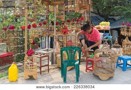 Hanoi, Vietnam - Apr 5, 2015: A Sale Man Repairs Cage In Bird Stall In Nguyen Khoai Street, Hanoi