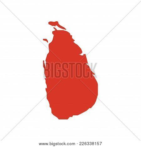 Democratic Socialist Republic Of Sri Lanka Vector Map Silhouette. Island Of Sri Lanka, Formerly Know
