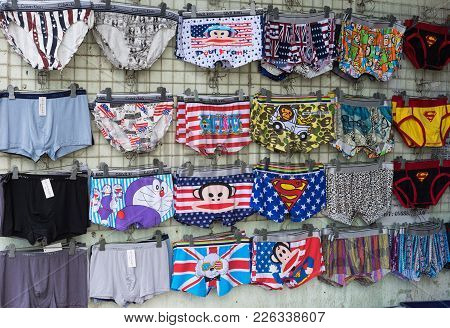 Hanoi, Vietnam - Apr 28, 2015: Underwear For Sale In A Street Small Store In Cau Giay Streeet