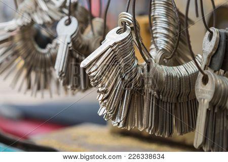 Hanoi, Vietnam - Apr 28, 2015: A Bunch Of Rough Shape Keys To Make Key Copy In Hanoi Street