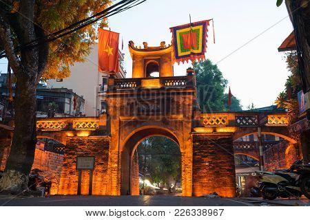 Hanoi, Vietnam - July 8, 2016: O Quan Chuong City Gate, The Only Gate Remaining Of Thang Long Citade