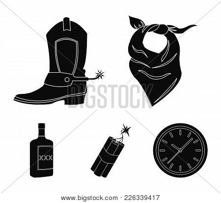 Bandage, Boots, Dynamite And A Bottle Of Whiskey. Wild West Set Collection Icons In Black Style Vect
