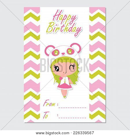 Cute Panda Girl On Chevron Border Vector Cartoon Illustration For Happy Birthday Card Design, Postca
