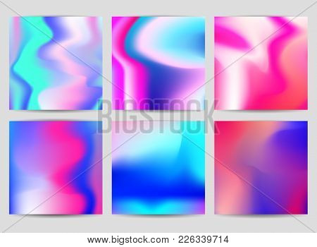 Fluid Iridescent Multicolored Backgrounds. Vector Illustration Of Pastel Fluids. Poster Set With Hol