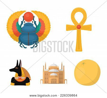 Anubis, Ankh, Cairo Citadel, Egyptian Beetle.ancient Egypt Set Collection Icons In Cartoon Style Vec