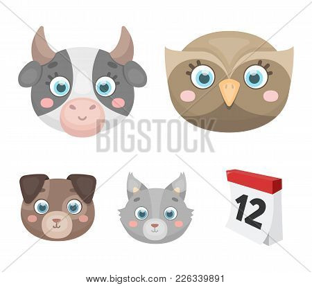 Owl, Cow, Wolf, Dog. Animal's Muzzle Set Collection Icons In Cartoon Style Vector Symbol Stock Illus