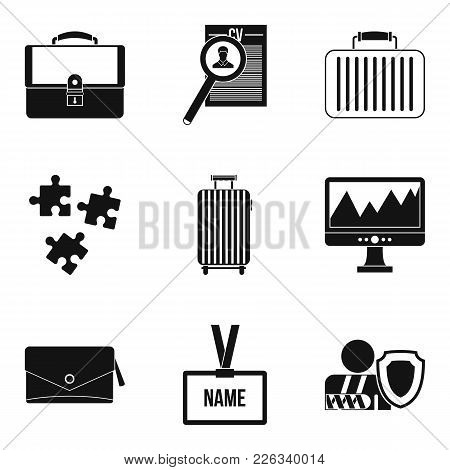 Search Employee Icons Set. Simple Set Of 9 Search Employee Vector Icons For Web Isolated On White Ba