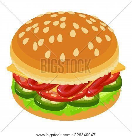 Hamburger Icon. Isometric Illustration Of Hamburger Vector Icon For Web