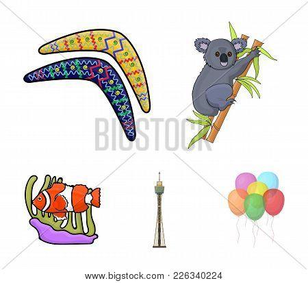 Koala On Bamboo, Boomerang, Sydney Tower, Fish Clown And Ammonium.australia Set Collection Icons In